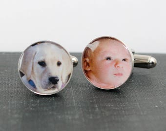 Fathers Day, Father's Day, Fathers Day Gift, First Fathers Day, Personalized Fathers day Gift, Photo Cufflinks with Engraving, dlkdesigns