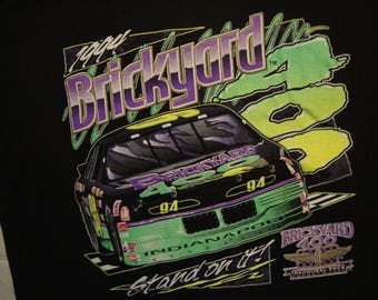 Vintage 90's Brickyard Stand On It 400 Motor Indianapolis Speedway Inaugural Race 94 Sports Black T Shirt Size XL