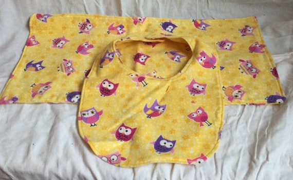 Yellow Owl Burb Cloth and Bib Set Baby Shower Gift