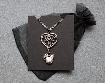 Legend of Zelda necklace – Skyward Sword heart container and cucco / Link chicken – cosplay jewelry / jewellery