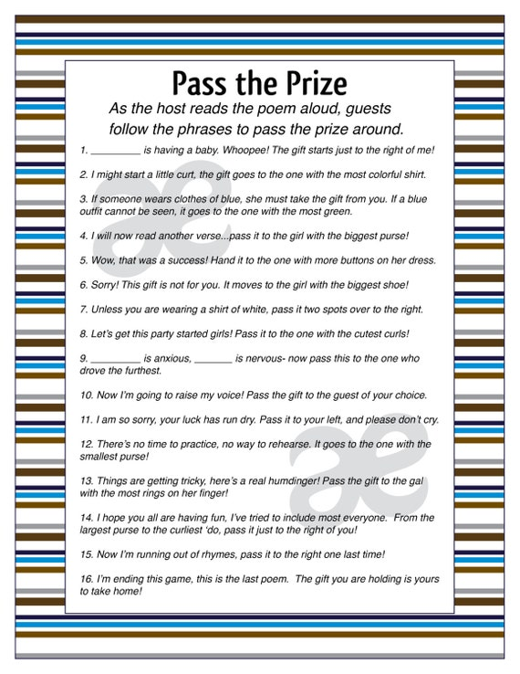 Printable Baby Boy Shower Activity: Pass The Prize   Instant Download    Customizable Blue Stripe