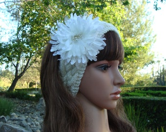 DIY- Knitting PATTERN #119: Cable Knit Headband pattern with Flower, Knit Hairband, Hair Accessory, Size Teen/Adult - PDF Digital Pattern