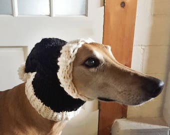 Knit Dog Stocking Hat - Black and White