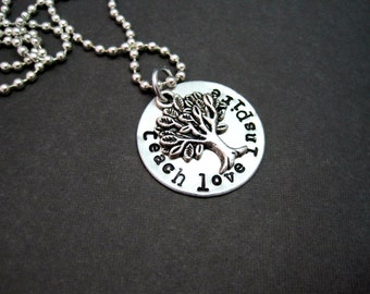 Teach Love Inspire - Teacher's Gift - Hand Stamped Teacher's Necklace - Ball Chain Included