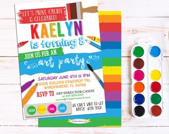Art paint party invitations art birthday party invitations art party invitation art party printable birthday invitation art or paint party invite rainbow paint party printable invitations digital stopboris