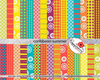Caribbean Summer: Digital Scrapbook Paper Pack (300 dpi) 22 digital papers ACEO Digiscrap Card Making Backgrounds Wrapping Paper