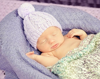 Lavender Baby Hat • Lavender Newborn Hat • Lavender Hospital Hat • Lavender Cabled Baby Hat • Lavender Newborn Prop