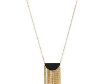 14 Karat Gold Plated Black Onyx and Fringe Necklace