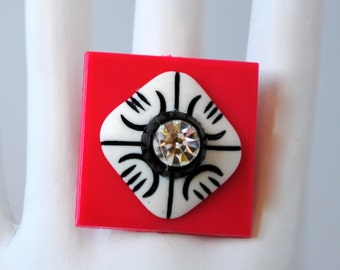 Square Button Ring/OOAK Ring/Statement Ring/Contemporary Ring/Red/White/Black/Spring/Summer Jewelry/Adjustable Ring/Under 10 USD