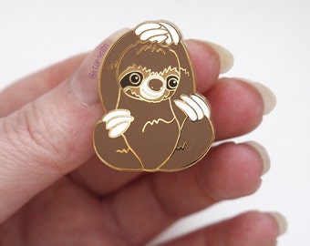 Sloth, sloth pin, enamel pin, cute sloth, cute pin, lapel pin, jewellery, jewelry, hard enamel, gold, gold tone, shiny metal, kawaii animal.