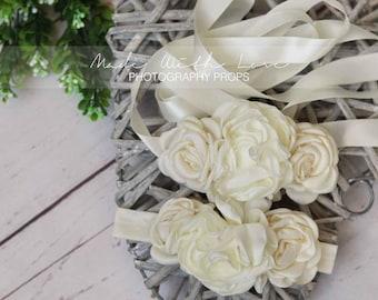 Layered Satin Flowers Sash, Ivory Satin Sash, Sash and Headband, Flower Girl Sash, Girl Sash Belt, Bridal Sash, Bridesmaid Sash Wedding Sash