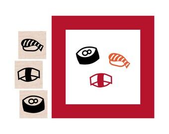 Mini Sushi Rubber Stamp set