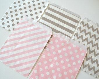 "25PK - Gray & Light Pink 5"" X 7"" Treat Bags // Party Favor // Paper Bag"