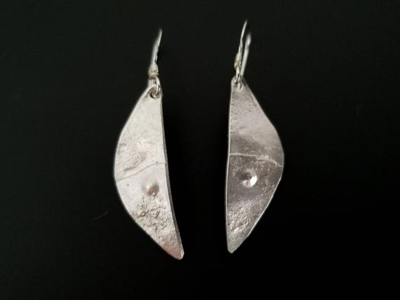Hammered silver moon rock earrings, inspired by nature and geology