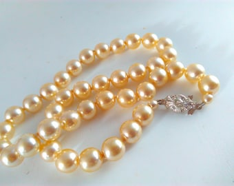 48cm, 10mm, vintage, hand knotted, pearl necklace, faux pearl bead, hand knotted pearls, pearl necklace, vintage necklace, wedding, bride