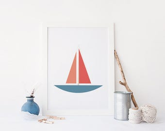 Printable Nautical Art, Sailboat Illustration, Sailboat Printable, Sailboat Nursery Wall Art, Nautical Wall Art, Nautical Printable
