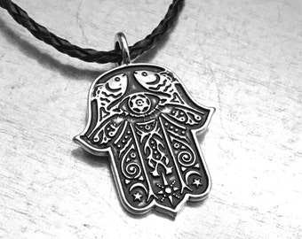 Hand of Hamsa Necklace, Hamsa Necklace, Amulet Necklace, Evil Eye Necklace, Leather Necklace