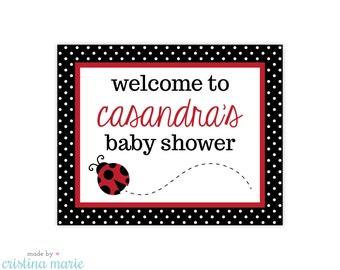 ladybug baby shower, ladybug party, personalized sign, printable