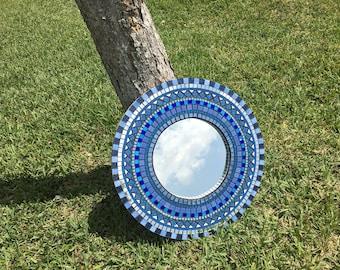 Blue round mosaic mirror