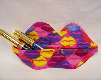 Zippy Lips in Kool Thing in Hot Pink - Makeup Pouch - Coin Purse - Lipstick Pouch - Ready To Ship