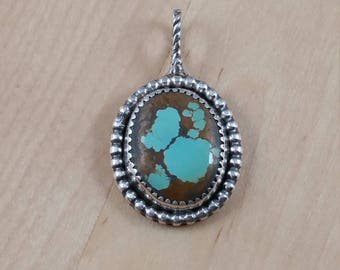 Number 8 Turquoise Oval Pendant (P-0117)