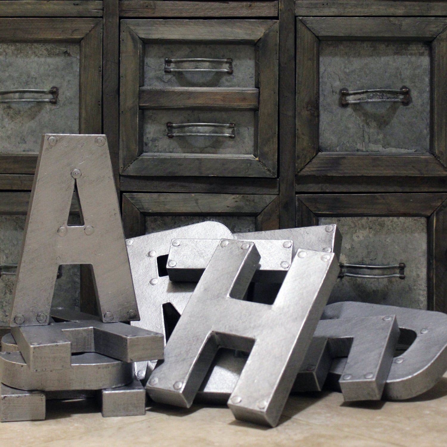 Small Decorative Metal Letters Industrial Zinc Faux Metal Letters And Numbers 8 Or