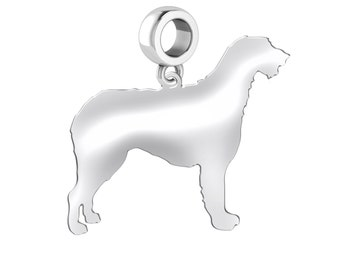Irish Wolfhound Dog Charm | Irish Wolfhound Silhouette Charm | Fits European Style Bracelets | Sterling Silver | Irish Wolfhound Earrings
