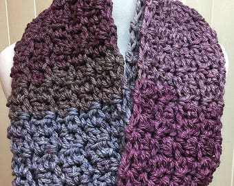 Purple and Plum Chunky Crochet Scarf Infinity Loop Cowl, Wool Blend Handmade Crochet Knit Winter, Women's Ladies Gifts for Her