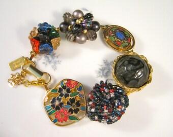 Bridesmaid Gift, Vintage Earring Bracelet, Reclaimed, Gold, Cluster, Flower, Black, Charm, Jennifer Jones, Under 40, OOAK - Until the Night