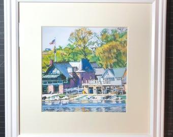 "Framed Philadelphia Archival Print  ""Boathouse Row"" Mat and Frame Included Philadelphia scene art  Ready to Hang by Gwen Meyerson"