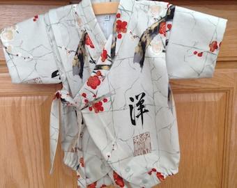 Japanese Baby Kimono, Grey Baby Kimono, Cherry Blossom Baby Kimono, Baby Kimono, Kimono Bodysuit, Baby Jinbei, 0-3 Mo, 3-6 Mo, 6-12 Mo
