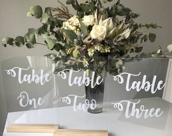 A5 Size Acrylic Table Numbers, Wedding Table Numbers