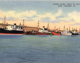 New Orleans Louisiana Ocean Bound Ships Vintage Postcard (unused)
