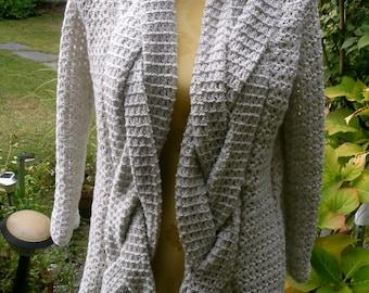 Crochet jacket with braided trim, Gr. 36-38 (S M), grey