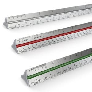 """Arteza 12"""" Triangular Architect Scale Aluminum Color-Coded Grooves (Imperial)"""