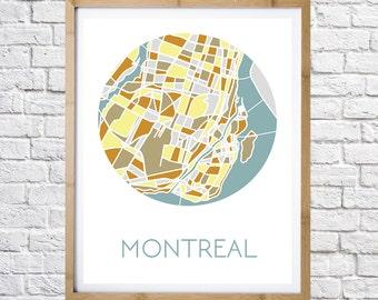 Map of Montreal Print, digital download, printable art, minimalist print, Modern wall art