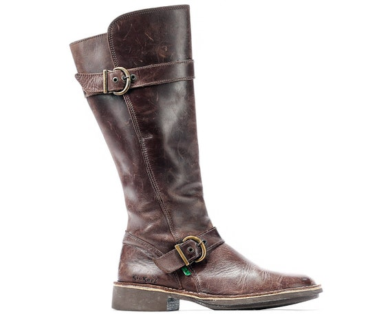 Kickers Boots US Waxed Leather Leather Distressed 39 Round Toe FIT Boots WIDE Wide Brown 5 Kickers Eur Uk Tall 6 women Fit Knee 90s Knee 8 1Or8v1