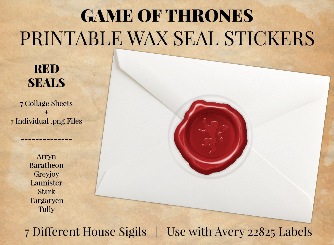 Game of Thrones Red Digital Printable Wax Seal Stickers House