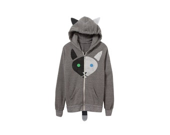 Geo Two Tone Cat Hoodie - Fleece Hooded Zip Sweatshirt with Ears and Tail in Heather Grey Black and White - Unisex Size XS-2XL