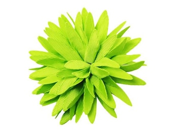 FLOWER ONLY: Large Lime Green Grosgrain Flower ~ Spiked Petals ~ Removable Dog Collar Add-on