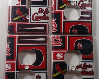 St. Louis Cardinals Light Switch Plate Outlet Cover Wall Decor Bundle Set