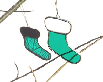 Christmas Ornament Teal Green Stained Glass Stocking Ornament Christmas Gift Stocking Holiday Decor Glass Ornament Christmas Decoration