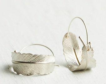 Silver Hoop Earrings Silver Feather Earrings Boho Rustic Jewelry Gift for Her Autumn Leaf Hoops Bohemian Earrings Tribal Southwestern