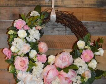 Wedding Wreath, Pink Peony Wreath, Peony Wreath, Wedding decor, Summer Wreath, Pink Wreath