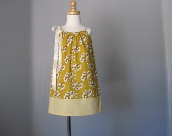 Girls Mustard Yellow Pillowcase Dress - Cream and Brown Branches on Gold - Girls Gold Sun Dress - Size 12m, 18m, 2T, 3T, 4T, 5, 6, 8, or 10