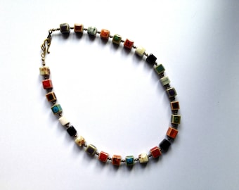 Necklace of handmade multicolour ceramic cube beads