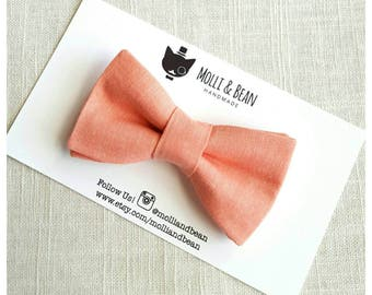 Boys Coral Bow Tie, Toddler Coral Bow Tie, Baby Coral Bow Tie, Boys Bow Tie, Coral Bow Tie, Ring Bearer Bow Tie, Easter BowTie