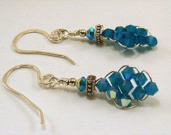 Sterling Silver and Swarovski Caribbean Blue Crystal Earrings