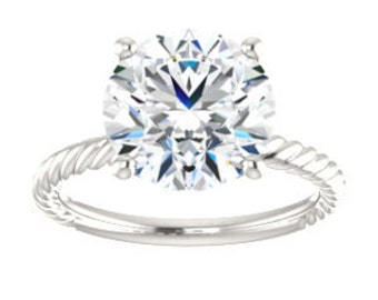 White Topaz Solitaire Ring, Sterling Silver, Bella Ring, Non Traditional, Cocktail, Prong, Rope Band, White or Swiss Blue Topaz