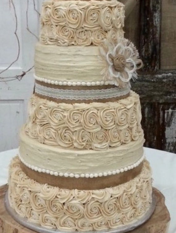 rustic lace wedding cake rustic wedding cake burlap flower farmhouse southern barn 19507